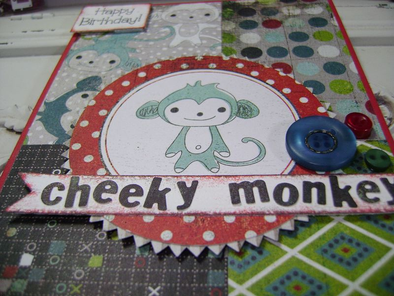Oliver Cheeky Monkey Card close up